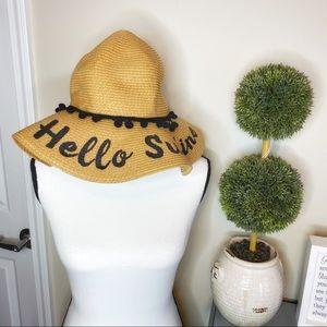 Hello summer woven straw floppy hat